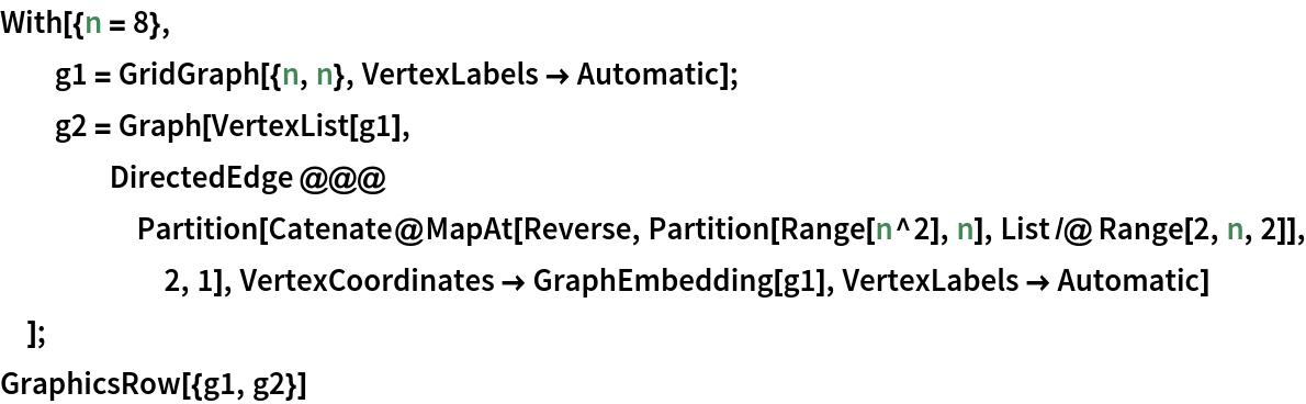 With[{n = 8},   g1 = GridGraph[{n, n}, VertexLabels -> Automatic];   g2 = Graph[VertexList[g1], DirectedEdge @@@ Partition[       Catenate@        MapAt[Reverse, Partition[Range[n^2], n], List /@ Range[2, n, 2]], 2, 1], VertexCoordinates -> GraphEmbedding[g1], VertexLabels -> Automatic]   ]; GraphicsRow[{g1, g2}]