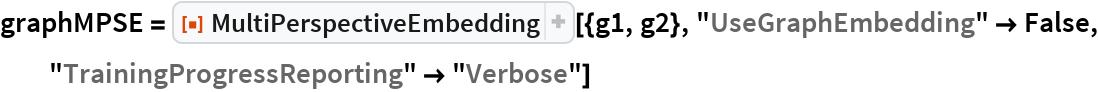 "graphMPSE = ResourceFunction[""MultiPerspectiveEmbedding""][{g1, g2}, ""UseGraphEmbedding"" -> False, ""TrainingProgressReporting"" -> ""Verbose""]"