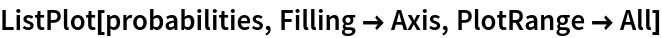 ListPlot[probabilities, Filling -> Axis, PlotRange -> All]