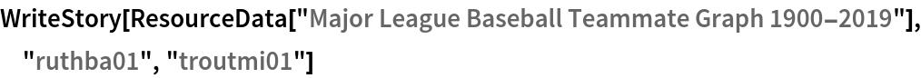 "WriteStory[ResourceData[\!\(\* TagBox[""\""\<Major League Baseball Teammate Graph 1900-2019\>\"""", #& , BoxID -> ""ResourceTag-Major League Baseball Teammate Graph \ 1900-2019-Input"", AutoDelete->True]\)], ""ruthba01"", ""troutmi01""]"