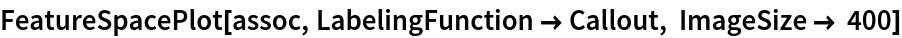 FeatureSpacePlot[assoc, LabelingFunction -> Callout, ImageSize -> 400]