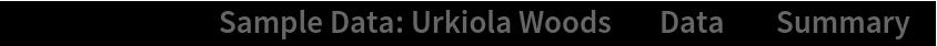 "ResourceData[\!\(\* TagBox[""\""\<Sample Data: Urkiola Woods\>\"""", #& , BoxID -> ""ResourceTag-Sample Data: Urkiola Woods-Input"", AutoDelete->True]\), ""Data""][""Summary""]"
