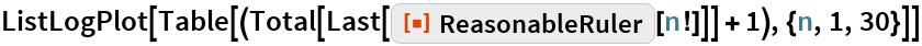 """ListLogPlot[  Table[(Total[Last[ResourceFunction[""""ReasonableRuler""""][n!]]] + 1), {n,     1, 30}]]"""