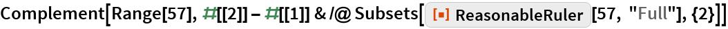 "Complement[  Range[57], #[[2]] - #[[1]] & /@ Subsets[ResourceFunction[""ReasonableRuler""][57, ""Full""], {2}]]"