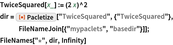 "TwiceSquared[x_] := (2 x)^2 dir = ResourceFunction[""Pacletize""][""TwiceSquared"", {""TwiceSquared""}, FileNameJoin[{""mypaclets"", ""basedir""}]]; FileNames[""*"", dir, Infinity]"