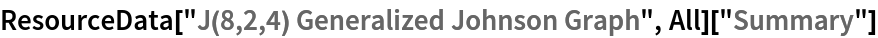 "ResourceData[""J(8,2,4) Generalized Johnson Graph"", All][""Summary""]"