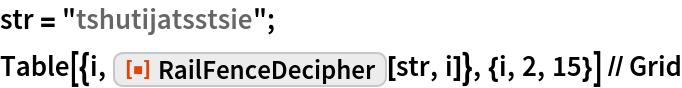 "str = ""tshutijatsstsie""; Table[{i, ResourceFunction[""RailFenceDecipher""][str, i]}, {i, 2, 15}] // Grid"