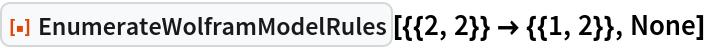 "ResourceFunction[  ""EnumerateWolframModelRules""][{{2, 2}} -> {{1, 2}}, None]"