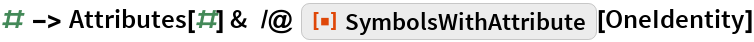 "# -> Attributes[#] &  /@ ResourceFunction[""SymbolsWithAttribute""][OneIdentity]"