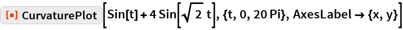 "ResourceFunction[""CurvaturePlot""][  Sin[t] + 4 Sin[Sqrt[2] t], {t, 0, 20 Pi}, AxesLabel -> {x, y}]"