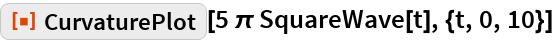 "ResourceFunction[""CurvaturePlot""][5 \[Pi] SquareWave[t], {t, 0, 10}]"