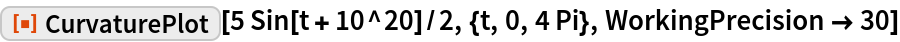 """ResourceFunction[""""CurvaturePlot""""][5 Sin[t + 10^20]/2, {t, 0, 4 Pi}, WorkingPrecision -> 30]"""