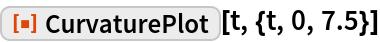 "ResourceFunction[""CurvaturePlot""][t, {t, 0, 7.5}]"