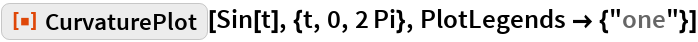"ResourceFunction[""CurvaturePlot""][Sin[t], {t, 0, 2 Pi}, PlotLegends -> {""one""}]"