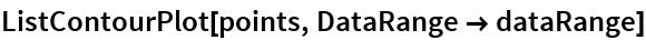 ListContourPlot[points, DataRange -> dataRange]