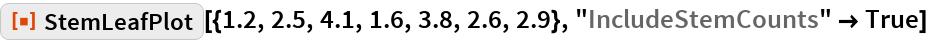 "ResourceFunction[""StemLeafPlot""][{1.2, 2.5, 4.1, 1.6, 3.8, 2.6, 2.9}, ""IncludeStemCounts"" -> True]"