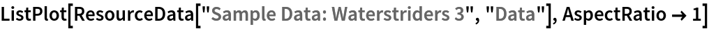 "ListPlot[ResourceData[\!\(\* TagBox[""\""\<Sample Data: Waterstriders 3\>\"""", #& , BoxID -> ""ResourceTag-Sample Data: Waterstriders 3-Input"", AutoDelete->True]\), ""Data""], AspectRatio -> 1]"