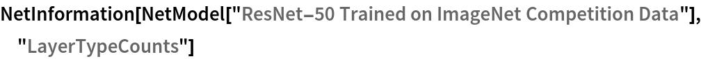 "NetInformation[  NetModel[""ResNet-50 Trained on ImageNet Competition Data""], \ ""LayerTypeCounts""]"