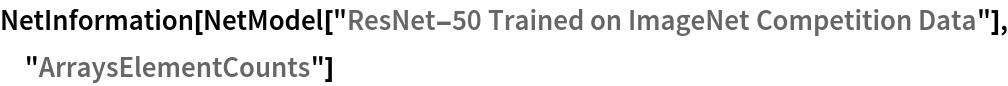 "NetInformation[  NetModel[""ResNet-50 Trained on ImageNet Competition Data""], \ ""ArraysElementCounts""]"