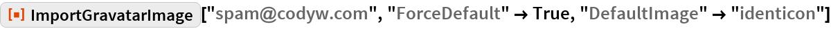"ResourceFunction[""ImportGravatarImage""][""spam@codyw.com"", ""ForceDefault"" -> True, ""DefaultImage"" -> ""identicon""]"