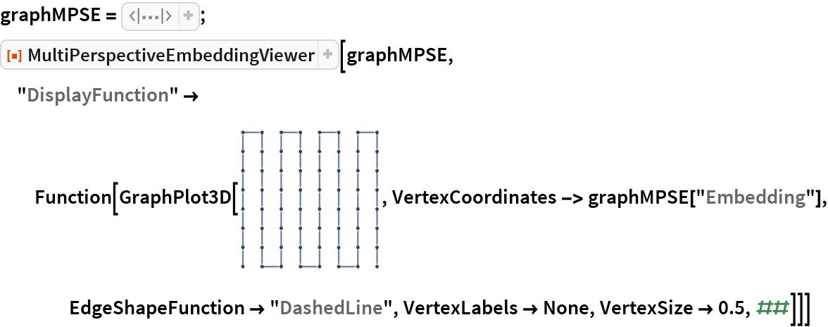 "graphMPSE = Association[""Embedding"" -> CompressedData["" 1:eJwllH9IlWcUx19mrhw56faDaSbvMjcDc61Ag9h8N2xQo0tdjVaJvf1msLhL q7FZ46k15/xRmyalFr0xs59/6KXyZphvmem8mpr5K7d5SzIcDGtEEyJp7+dc uBzO5znPOd9znud93t3s9Wx7Q9M04/9/iCa/ifQ/Uxwb7frDseZXrmHH6mOr 8G1PIutBX9ojx6pszyBxqaF/wQuOPXSs4V7zgHhlwc3MwSB2Sc4Ace+EDeF/ PBtun/T1Yzf/Cg9GVUm+iXi4VRlHnPbtLKmvvH3Eu/LhQf+H6NAG9S5s43X0 at2Z1DNGLeHJZ9iv4nKFV3xwj/3TYqmnjdTB7fHJ3awfugO3v/HQj3p+Dm5u XI5OI6MUrjdn3yeP66jwT8fgZqW3B5sfjU7jzWXoNG4n9FJvfzpczZ0gXst5 1EG9UDkHdWBLv8wr8i7+W0vQoz6fQf/Gs/lt+D+UiP4BX4/0W93K3FyP4Ya/ FH3m2eEW/Mg0dNorDfrRJrmbWR/1wfUpfzMvI/FMk5z/S+EdqpN6laONrO9M Ev3rStvZrxZcIl/sF+g3b4STVy87VYP/4xPhcUNw4+3Cy+hcmSvn/Uk1+szg olr01XWI/hO7f2e9IryO/KdT5J5c3Sp9Tllbz77nW+DWTm+A/TFFNvq+C5H7 t+Yn5hXsTLpF3pjtcv8Oh6FfDRZUSv8/o9P4ZYz+7ZGscviOmTJn5Zf94YsK 8ct3yblELrTl3u9eS/y6LomPOngdXnX8+wYnrvh9mefcQvpUG6ced7gxuwCu FbUzLysy5jeHW8XPhPfFnCe+dvFFhwfzlor+PfVl9OU+3Uj+9W75TmKbKoh7 9fKmY80VL4QP55c7vtb+WQPcfQKdljfhCPF3XPWspwZE/1BEHjrSWq5hM0Pl nrct+xI/5+tax9opRTL/0YwNWE/BZXheGDp1f6fC1lTV0G/EHtE/L4Q5qn83 NVE/OkPeoQj3SfyDWjO2ZFz4k+ZL9Dmnt4U81SvknclJv0Jcalor68ca5Fxy z9fhJ/cH6HffYrn/sWfpX2W1tTtWTy6ROR/ddws/PrODOfwj75RxY/w2/T4+ 10mdF0ekr6d+9Ol3E/pYN5/K+/nRBerZsxb0El9zQe5//Htt1N2b0QNfHY9O vdGAa0nZ99m3tEXO5YBNHr0r0I3dnir6H+yCq9z/7jGHq1HosQaK6d/y7Yer 6Vky5yY3PDgy3EV8QOO9tqcmtja8Bvk/6/A= ""], ""Normals"" -> {{0.6663395686422579, 0.029910801862666515`, 0.7450482690360285}, {-0.038224542984368524`, 0.7029471953130203, -0.7102141401825189}}]; ResourceFunction[""MultiPerspectiveEmbeddingViewer""][graphMPSE, ""DisplayFunction"" -> Function[GraphPlot3D[\!\(\* GraphicsBox[ NamespaceBox[""NetworkGraphics"", DynamicModuleBox[{Typeset`graph = HoldComplete[ Graph[{1, 2, 3, 4, 5, 6, 7, 8, 9, 10, 11, 12, 13, 14, 15, 16, 17, 18, 19, 20, 21, 22, 23, 24, 25, 26, 27, 28, 29, 30, 31, 32, 33,             34, 35, 36, 37, 38, 39, 40, 41, 42, 43, 44, 45, 46, 47, 48, 49, 50, 51, 52, 53, 54, 55, 56, 57, 58, 59, 60, 61, 62,             63, 64}, {{{1, 2}, {2, 3}, {3, 4}, {4, 5}, {5, 6}, {6, 7},"