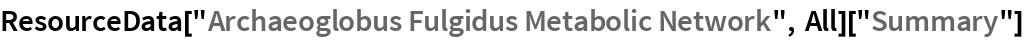 "ResourceData[""Archaeoglobus Fulgidus Metabolic Network"", All][""Summary""]"