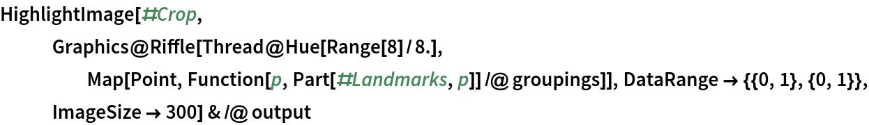 HighlightImage[#Crop, Graphics@     Riffle[Thread@Hue[Range[8]/8.], Map[Point, Function[p, Part[#Landmarks, p]] /@ groupings]], DataRange -> {{0, 1}, {0, 1}}, ImageSize -> 300] & /@ output