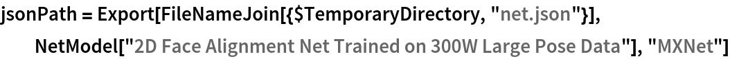 "jsonPath = Export[FileNameJoin[{$TemporaryDirectory, ""net.json""}], NetModel[""2D Face Alignment Net Trained on 300W Large Pose Data""], ""MXNet""]"