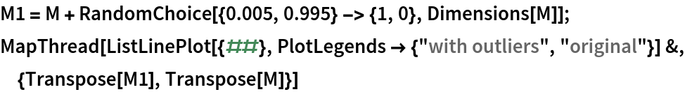 "M1 = M + RandomChoice[{0.005, 0.995} -> {1, 0}, Dimensions[M]]; MapThread[  ListLinePlot[{##}, PlotLegends -> {""with outliers"", ""original""}] &, {Transpose[M1], Transpose[M]}]"