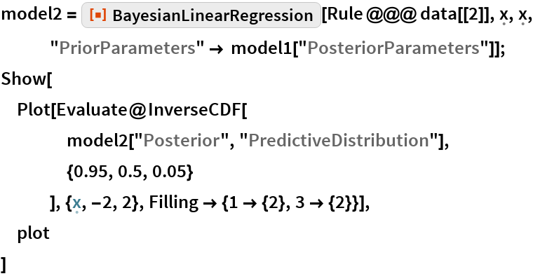 "model2 = ResourceFunction[""BayesianLinearRegression""][    Rule @@@ data[[2]], \[FormalX], \[FormalX], ""PriorParameters"" -> model1[""PosteriorParameters""]]; Show[  Plot[Evaluate@InverseCDF[     model2[""Posterior"", ""PredictiveDistribution""],     {0.95, 0.5, 0.05}     ], {\[FormalX], -2, 2}, Filling -> {1 -> {2}, 3 -> {2}}],  plot  ]"