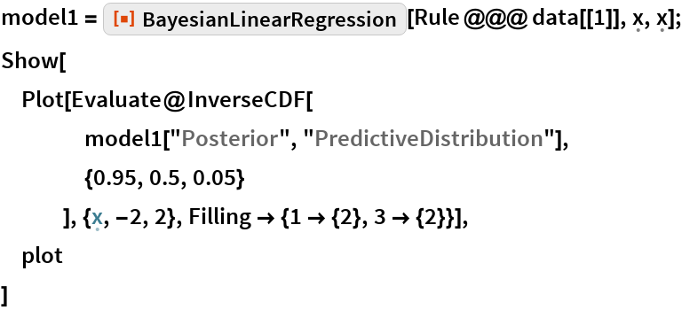 "model1 = ResourceFunction[""BayesianLinearRegression""][    Rule @@@ data[[1]], \[FormalX], \[FormalX]]; Show[  Plot[Evaluate@InverseCDF[     model1[""Posterior"", ""PredictiveDistribution""],     {0.95, 0.5, 0.05}     ], {\[FormalX], -2, 2}, Filling -> {1 -> {2}, 3 -> {2}}],  plot  ]"