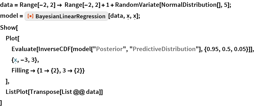 "data = Range[-2, 2] -> Range[-2, 2] + 1 + RandomVariate[NormalDistribution[], 5]; model = ResourceFunction[""BayesianLinearRegression""][    data, \[FormalX], \[FormalX]]; Show[  Plot[   Evaluate[    InverseCDF[     model[""Posterior"", ""PredictiveDistribution""], {0.95, 0.5, 0.05}]],   {\[FormalX], -3, 3},   Filling -> {1 -> {2}, 3 -> {2}}   ],  ListPlot[Transpose[List @@ data]]  ]"