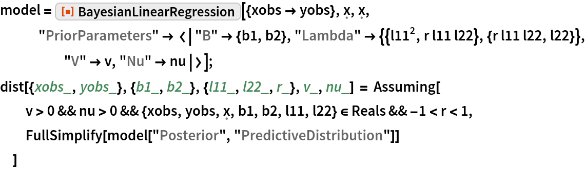 "model = ResourceFunction[    ""BayesianLinearRegression""][{xobs -> yobs}, \[FormalX], \[FormalX],     ""PriorParameters"" -> <