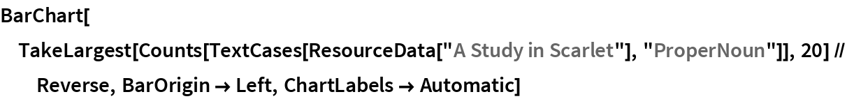 """BarChart[TakeLargest[    Counts[TextCases[ResourceData[""""A Study in Scarlet""""], """"ProperNoun""""]], 20] // Reverse, BarOrigin -> Left, ChartLabels -> Automatic]"""
