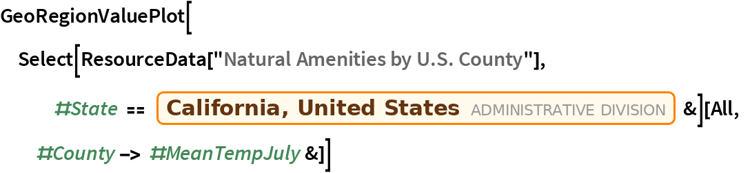 """GeoRegionValuePlot[  Select[ResourceData[     """"Natural Amenities by U.S. County""""], #State == Entity[""""AdministrativeDivision"""", {""""California"""", """"UnitedStates""""}] &][All, #County -> #MeanTempJuly &]]"""
