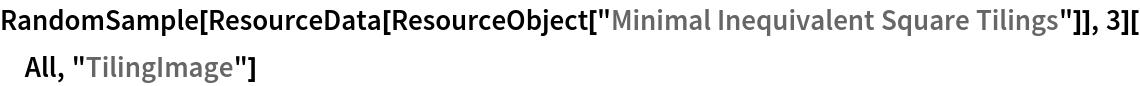 "RandomSample[ResourceData[ ResourceObject[""Minimal Inequivalent Square Tilings""]], 3][All, ""TilingImage""]"
