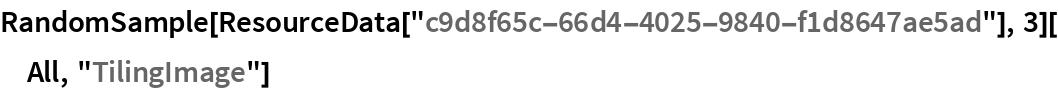 """RandomSample[ResourceData[""""c9d8f65c-66d4-4025-9840-f1d8647ae5ad""""], 3][All, """"TilingImage""""]"""