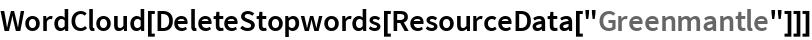 """WordCloud[DeleteStopwords[ResourceData[""""Greenmantle""""]]]"""