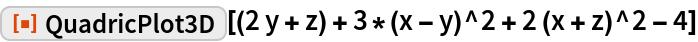 "ResourceFunction[  ""QuadricPlot3D""][(2 y + z) + 3*(x - y)^2 + 2 (x + z)^2 - 4]"