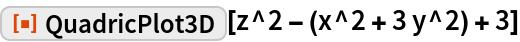 """ResourceFunction[""""QuadricPlot3D""""][z^2 - (x^2 + 3 y^2) + 3]"""