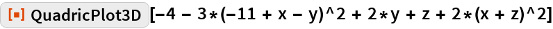 "ResourceFunction[  ""QuadricPlot3D""][-4 - 3*(-11 + x - y)^2 + 2*y + z + 2*(x + z)^2]"