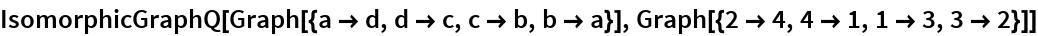 IsomorphicGraphQ[Graph[{a -> d, d -> c, c -> b, b -> a}], Graph[{2 -> 4, 4 -> 1, 1 -> 3, 3 -> 2}]]