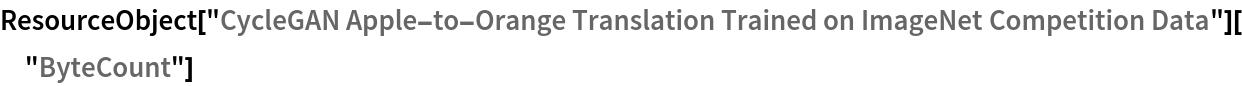 "ResourceObject[   ""CycleGAN Apple-to-Orange Translation Trained on ImageNet \ Competition Data""][""ByteCount""]"