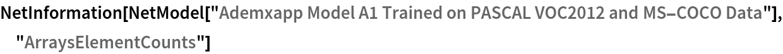 "NetInformation[  NetModel[""Ademxapp Model A1 Trained on PASCAL VOC2012 and MS-COCO \ Data""], ""ArraysElementCounts""]"