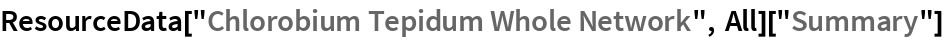 "ResourceData[""Chlorobium Tepidum Whole Network"", All][""Summary""]"