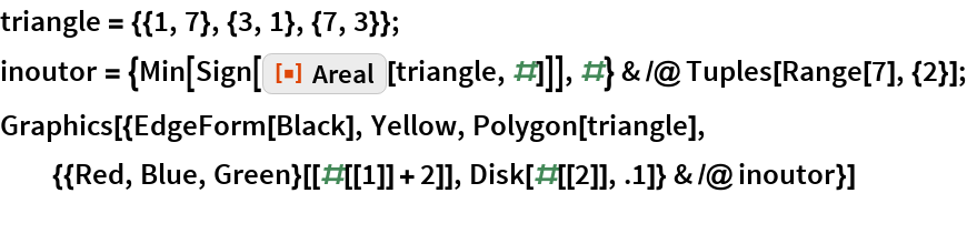"triangle = {{1, 7}, {3, 1}, {7, 3}}; inoutor = {Min[Sign[ResourceFunction[""Areal""][triangle, #]]], #} & /@ Tuples[Range[7], {2}]; Graphics[{EdgeForm[Black], Yellow, Polygon[triangle], {{Red, Blue, Green}[[#[[1]] + 2]], Disk[#[[2]], .1]} & /@ inoutor}]"
