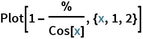 Plot[1 - %/Cos[x], {x, 1, 2}]