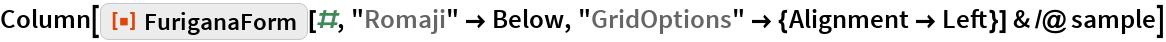 "Column[ResourceFunction[""FuriganaForm""][#, ""Romaji"" -> Below, ""GridOptions"" -> {Alignment -> Left}] & /@ sample]"