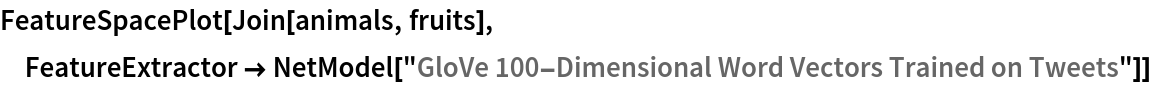 "FeatureSpacePlot[Join[animals, fruits], FeatureExtractor -> NetModel[""GloVe 100-Dimensional Word Vectors Trained on Tweets""]]"