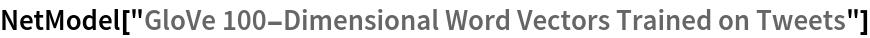 "NetModel[""GloVe 100-Dimensional Word Vectors Trained on Tweets""]"